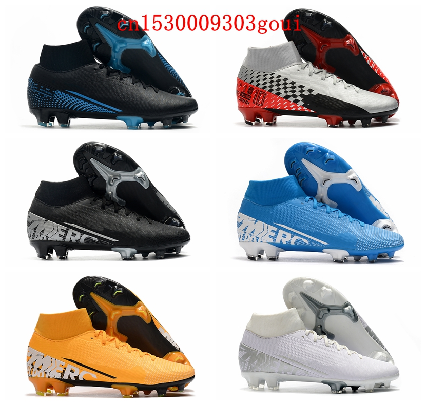 Cheap Mens SoccEr Cleats BoOts Orange Pink Indoor FootbAll BoOts High Ankle Soccer Shoes Superflys FG