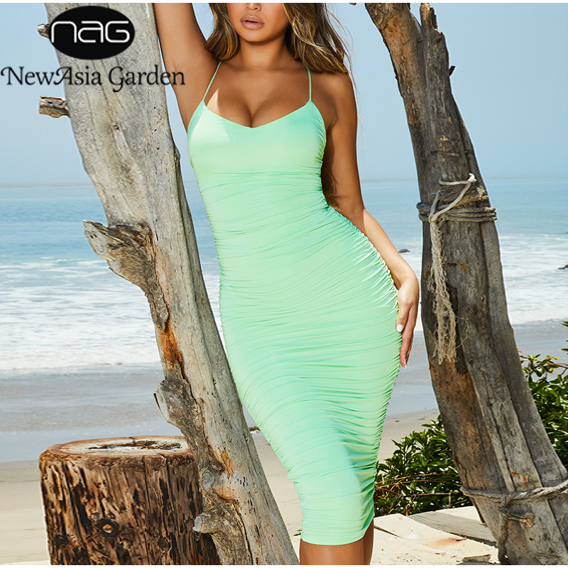 NewAsia Double Layers Party Dress Women 2019 Summer V-neck Lace Up Backless Sexy Bodycon Dress Elegant Ruched Long Dress Green