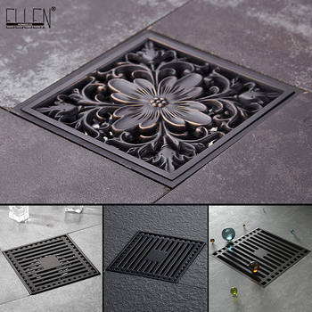 Black Floor Drainer 10*10cm Euro Style Bathroom Shower floor Drain Wire Strainer Art Carved Cover Waste Drainer ELD1024 фото