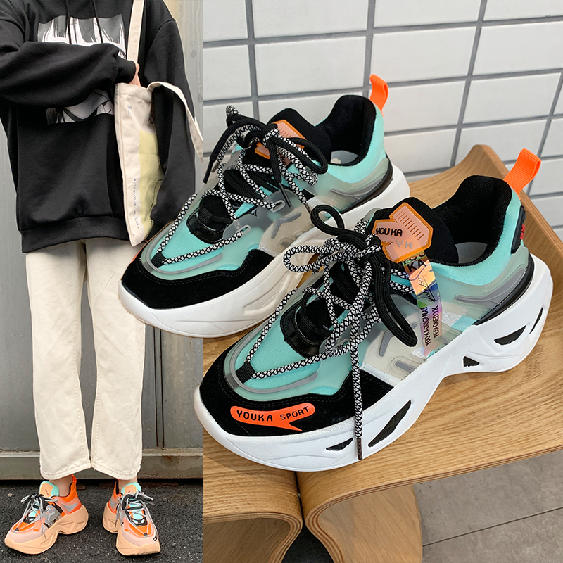 2020 Chunky Female Sports Shoes Lace-up Sneakers Women Casual Flats Round Toe Platform Shoes Women Vulcanized Shoes Woman Spring