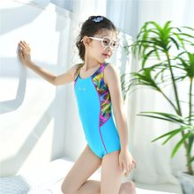 2018 European And American-Style New Style Hot One-piece Swimsuit Solid Color Sweet Cute Indie Beach Girls Children's Swimwear(China)