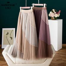 Pleated-Skirt Stitching A-Line-Spring Long Mesh Waist Girls High-Elastic Women for Contrast-Color