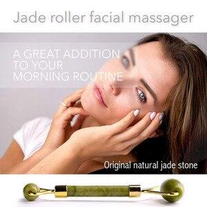 Image 2 - KURADI Double Head Green Facial Massager Roller Natural Jade Stone GuaSha Face Slimming Body Head Neck Natural Massage Tool 2019