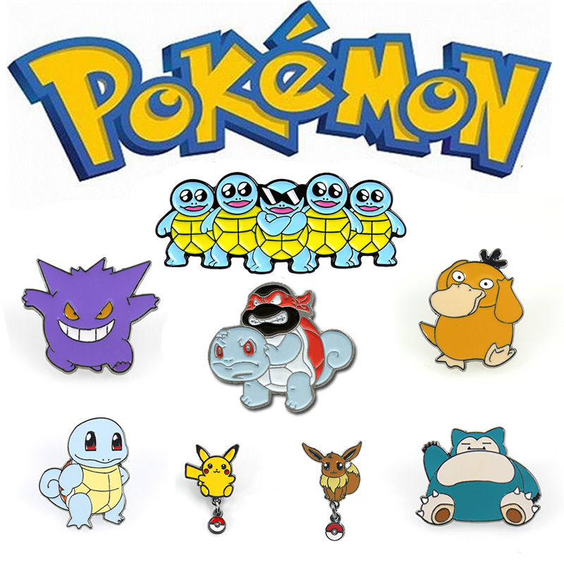 Pokemon Brooch Cute Pins Cosplay Badge Prop Pokemon Go Metal Enamel Psyduck Broochs Accessories
