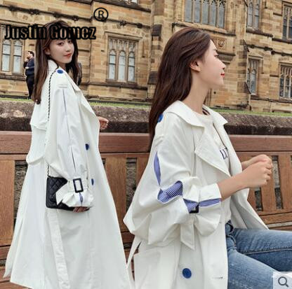 Korean Design New Collections Women's Casual   trench   Coat casual Style stripe patchwork female OversizedOuterwear