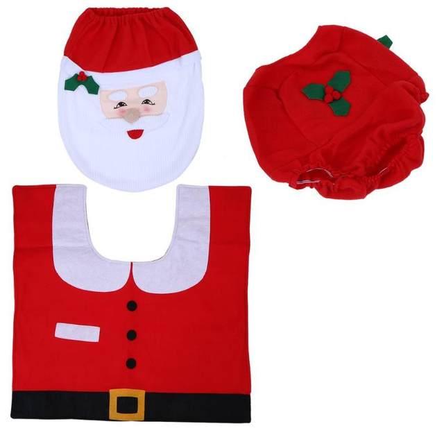 3Pcs/set Christmas Santa Toilet Seat Cover Anti-Slip Bathroom Mat Toliet Rug Christmas Decoration for Home New Year Mat 28