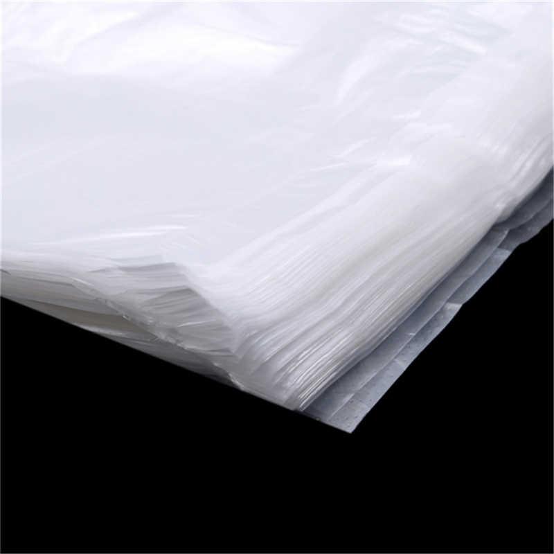 100 Stks/pak Transparante Zakken Boodschappentas Supermarkt Plastic Zakken Met Handvat Voedsel Verpakking