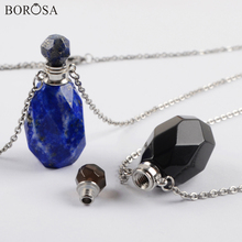 BOROSA Mini Perfume Bottle Crystal Necklace Silver Plated Natural Stone Essential Oil Diffuser Pendant Necklace for Women WX1618 недорого