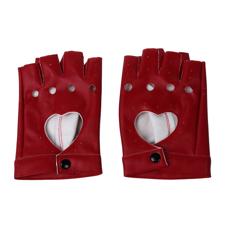 Women PU Leather Motorcycle Bike Car Fingerless Performance Gloves Red