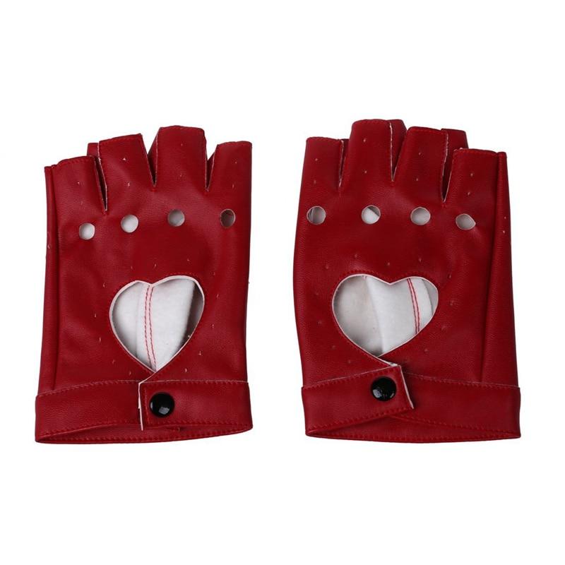 Women PU Leather Motorcycle Bike Car Fingerless Performance Gloves Red