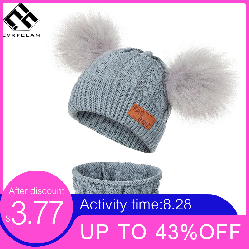 Scarf-Sets Warm-Accessories Fur-Ball Knitted 2pieces-Set Girls Kids Winter Fashion