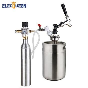 Beer Keg 5l,Pressurized Mini Growler Kit with 90 PSI Co2 Charger & 0.6L Soda Bottle Cylinder,U.S Standard Tap Dispenser