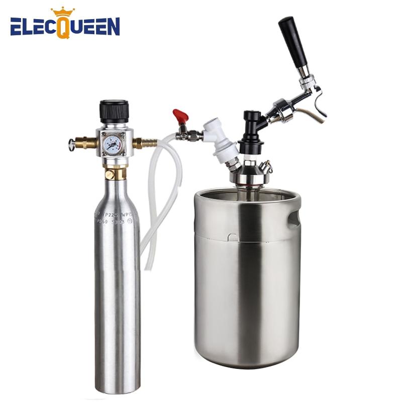 Bira Keg 5l, basınçlı Mini Growler kiti ile 90 PSI Co2 şarj cihazı ve 0.6L Co2 Soda şişesi silindir, abd standart bira dokunun dağıtıcı
