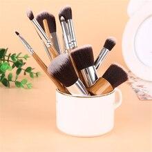 11Pcs/Set Bamboo Stipe Makeup Brushes Professional Eyes Brush Set Eyeshadow Eyebrow Eyeliner Powder Smudge