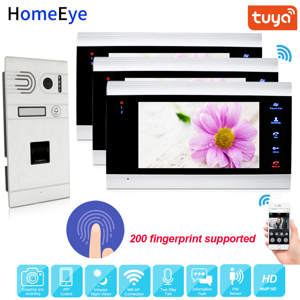 Tuya Smart App Supported Fingerprint WiFi IP Video Door Phone 960P HD Video Intercom System Home Access Control Motion Detection