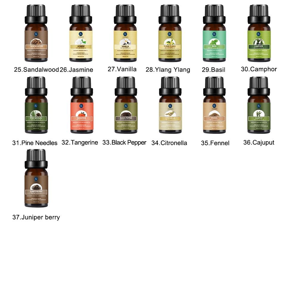 Lagunamoon Any 6pcs/Gift Set With Box  10ML Pure Essential Oils Humidifier Aromatherapy Tea Tree Rose Sandalwood Mint Oil