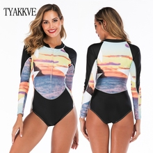 2019 One Piece Long Sleeves Printed Rash Guard Swimsuit Women Surf Beach Wear Floral One Piece Swimwear UV Bodysuit Bathing Suit maillot one piece swimsuit knee length sport suit beach patchwork swimwear women one piece bathing suit surf rush guard xxxl