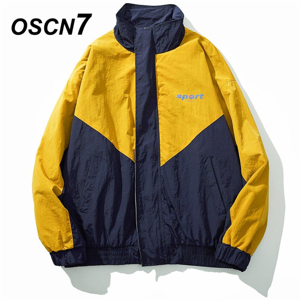 OSCN7 хип хоп куртки контрастных цветов для мужчин 2019 новая уличная Свободная Повседневная Женская ветровка куртки университетская куртка бо