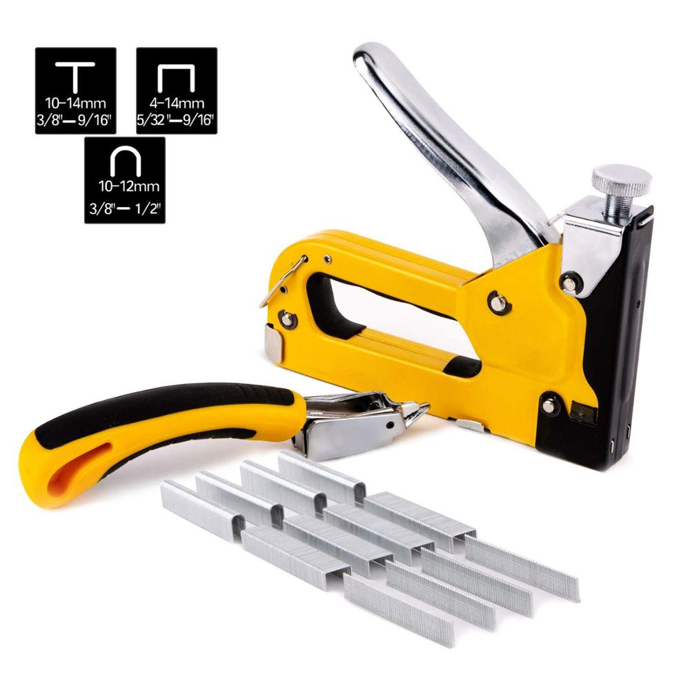 Staple Gun 3 in 1 Heavy Duty with Staple Remover and 1500 Staples - 3 Way Tacker Hand Operated Steel Stapler Brad Nail