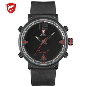 Bluegray Carpet Shark Sport Watch Black Men's Quartz Digital Analog LED Military Brown Leather Watches Relogio Masculino /SH546