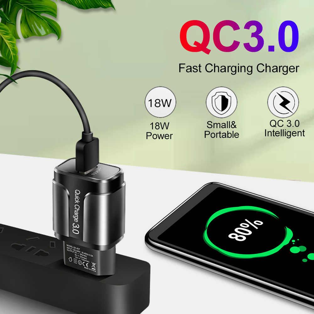 18W Cepat Biaya 3.0 Charger USB QC 3.0 4.0 USB Plug Ponsel/Cepat Charger Adaptor untuk Samsung A50 iPhone XR 11 8 7 Xiaomi Huawei