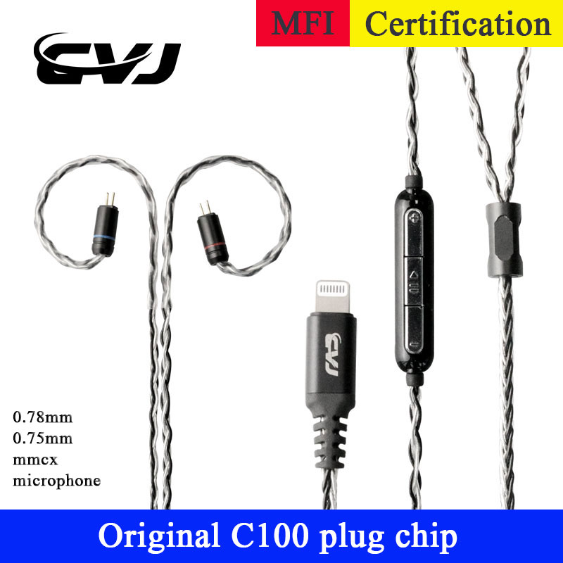 Voor Lightning <font><b>cable</b></font> Hifi Upgrade <font><b>Cable</b></font> For iphone <font><b>cable</b></font> Original chip <font><b>0.75MM</b></font> <font><b>2PIN</b></font> <font><b>cable</b></font> 0.78MM MMCX For se215 ue900 westone W4R image