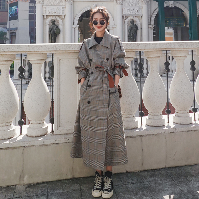 Quality Fashion Elegant Long Plaid Trench Coat Double Breasted with Belt Lady Duster Coat Cloak Spring Autumn Windbreaker