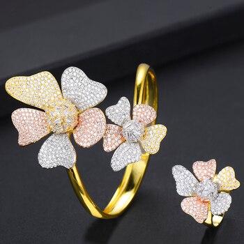 LARRAURI 3Tone  Flower Shape Bangle Ring Sets Inlay Zircon Sprayed Sand Jewelry For Women Bridal Ceremony Jewelry Sets 2019