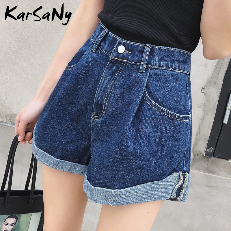 KarSaNy Denim Shorts For Women Summer High Waist Wide Leg Retro Short Femme Loose Shorts Jeans Feminino Short Jeans Denim Pants