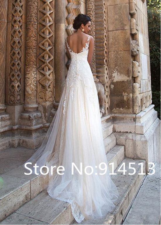 Image 2 - Elegant A Line Tulle Bateau Neckline Wedding Dresses with Lace Appliques Backless Wedding Gowns Custom made Vestido De Novia-in Wedding Dresses from Weddings & Events