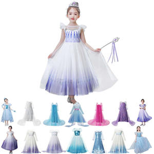 MUABABY Elsa White Dress Kids Snowflake 2 Princess Dresses New Movie Sequin Lace Fancy Costumes Halloween Party Gown