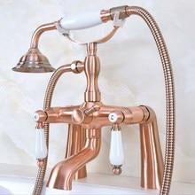 цена на Deck Mount Claw-foot Bathtub Faucet Tub Filler Handheld Shower Antique Red Copper Brass Dual Ceramic Handles ana174