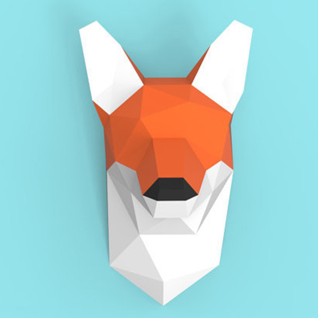 Fox Wall Hanging 3D Paper Model DIY Manual Paper Die Hanging Toy Geometric Origami Three-dimensional Composition Free Shipping 6