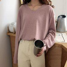 Women Pullovers Sweater 2019 Plain Knitting Autumn Winter O-Neck Korean Elegant Casual Office Ladies Tops Pink/White Knit Shirts choker neck plain sweater