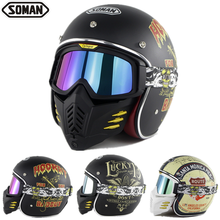 цена на SOMAN Motorcycle Retro Vintage Helmets with Face Mask Goggles Open Face Helmet Dot 3/4 Helmet Motorcycle Motorbike Helmet SM512
