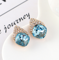 Crystal Blue Design Earring Studs Color Elegant Fashion Women Jewelry Girl Gifts