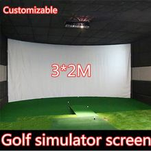 Golf Simulator Curtain Projector Screen Indoor Hitting Cloth Target Cloth Projection Cloth Customized Advertising 3*2M