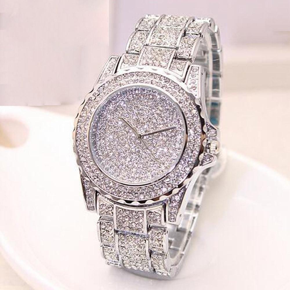 Relógio feminino aço inoxidável quartzo, relógio de pulso feminino pulseira de cristal aço inoxidável