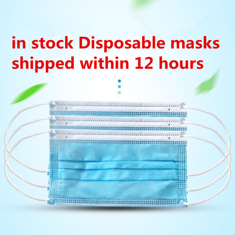 50pcs In Stock! Fast Delivery! High Quality Non Woven Disposable Face Mask 3 Layers Anti-Dust Face Masks Ear Loop Mouth Mask