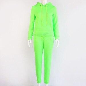 Image 5 - Женский спортивный костюм ZOGAA, комплект из двух предметов, толстовка с капюшоном и штаны, флуоресцентный зеленый костюм