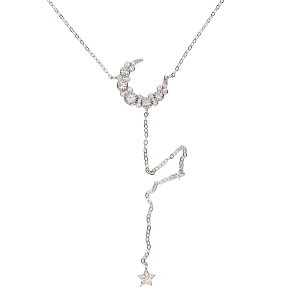 elegant Christmas gift cz crescent moon star charm long sexy women lariat Y shape necklace 925 sterling silver