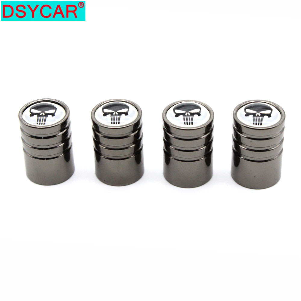 DSYCAR 4 Pcs/Set Car Styling Copper Skull Logo Car Tire Valve Caps Wheel Tires Tire Stem Air Cap Airtight Covers