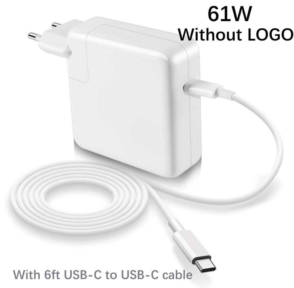 61W USB-C Power Adapter Type-C PD Charger With 6ft Charging Cable For Latest Macbook pro 13 inch A1706 A1707 A1708 A1718