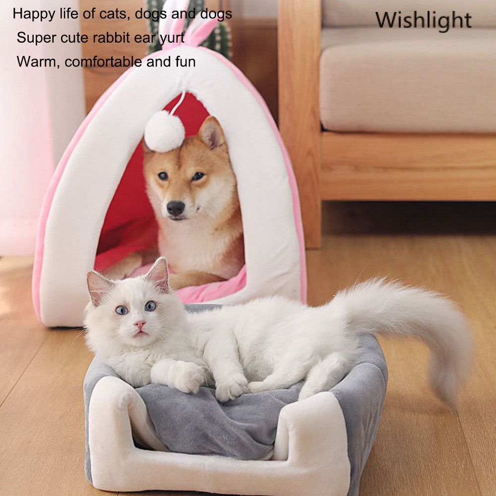 Super Soft <font><b>Cat</b></font> <font><b>Bed</b></font> <font><b>House</b></font> Washable Long Plush Dog Kennel <font><b>Cat</b></font> <font><b>House</b></font> Velvet Mats Sofa for Dog Basket Pet <font><b>Bed</b></font> image