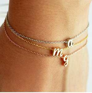 Bracelet Women Small Custom for Girls Birthday-Jewelry Anklet Letters Gifts Idea Initial