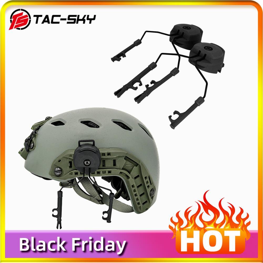 Military Tactics Peltor Helmet ARC OPS-CORE Helmet Track Adapter Headphone Bracket And Fast Action Core Helmet Rail Adapter - BK