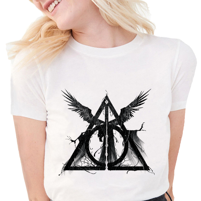 New Fashion Three Brothers Tale T-shirts Deathly Hallows Design Tops Print Women T-Shirt Slim Casual Cotton White Tops  S584