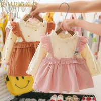 Vestido de algodón con estampado de corazón para niñas pequeñas, ropa de fiesta a la moda de manga larga, otoño