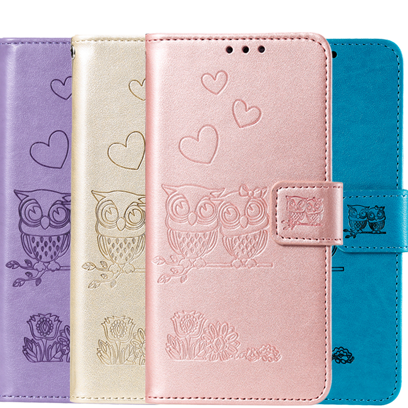 Lovely 3D Owl Leather Wallet Case For Samsung Galaxy J4 J6 A6 Plus A7 2018 A50 A50S J7 J5 J3 2016 2017 J730FM J510FN Flip Cover image