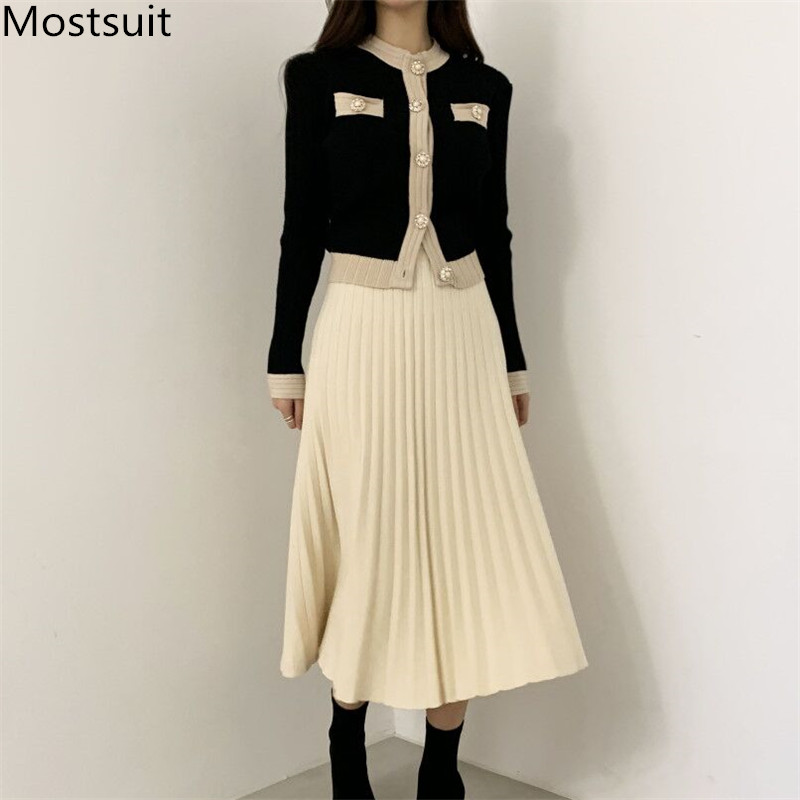 Chic Vintage Ladies Knitted 2 Piece Skirt Suits Sets Women Single Breasted Pearl Buttons Cardigan + Pleated Long Skirt Suit 2020